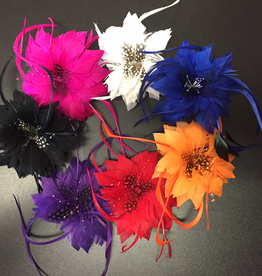 Hair Clip Flower Feathers - Black