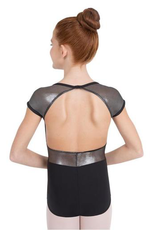 Capezio Lunar Cap Sleeve Leotard<br /> <br /> Create a cosmic reaction when you wear this leotard. Features iridescent mesh cap sleeves that add shine and ventilation. Easy, clasp closure at back neck creates a secure fit and highlights the beautiful, open back.