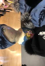 Canadian Hat Company Ltd. Berdine- Merino Wool Beanie with Feathers on side and  Fur Pom Pom, BLACK, O/S… ON Sale ! !