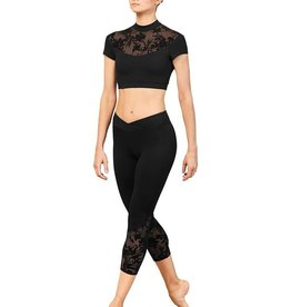 Bloch Bloch FP5223  Floral Mesh Panel 3/4 Leggings