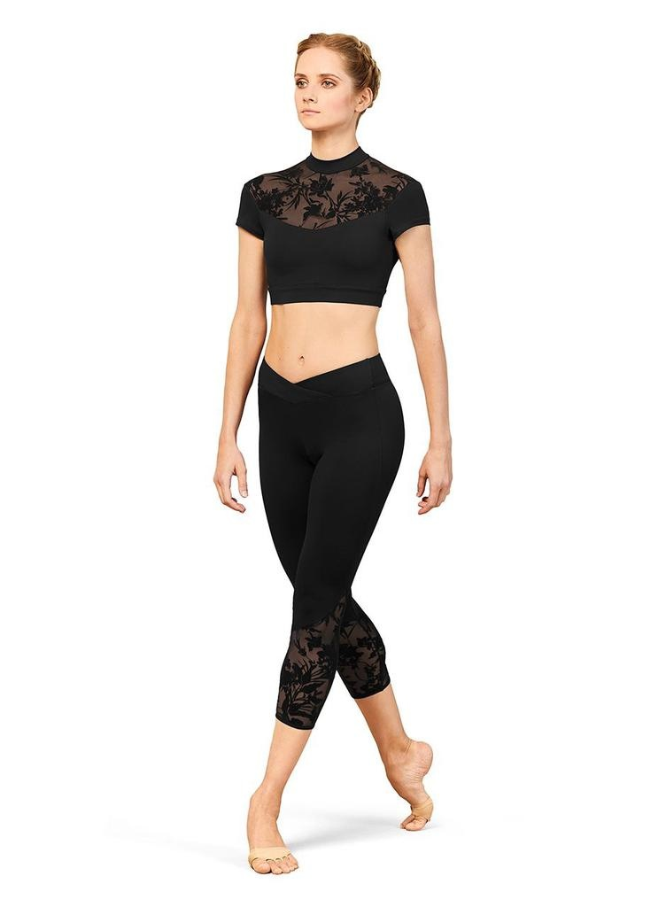 Bloch FT5222   Floriade Floral Mesh Cropped Top, Cap Sleeve
