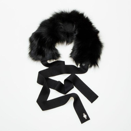 Canadian Hat Company Ltd. Harricana Recycled Fur Headband with Wool Backing and Ties, BLACK WOOL WITH RACCOON FUR, O/S - - on sale ! !