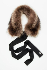 Canadian Hat Company Ltd. Harricana Recycled Fur Headband with Wool Backing and Ties, GREY WOOL WITH COYOTE FUR, O/S - on sale ! !