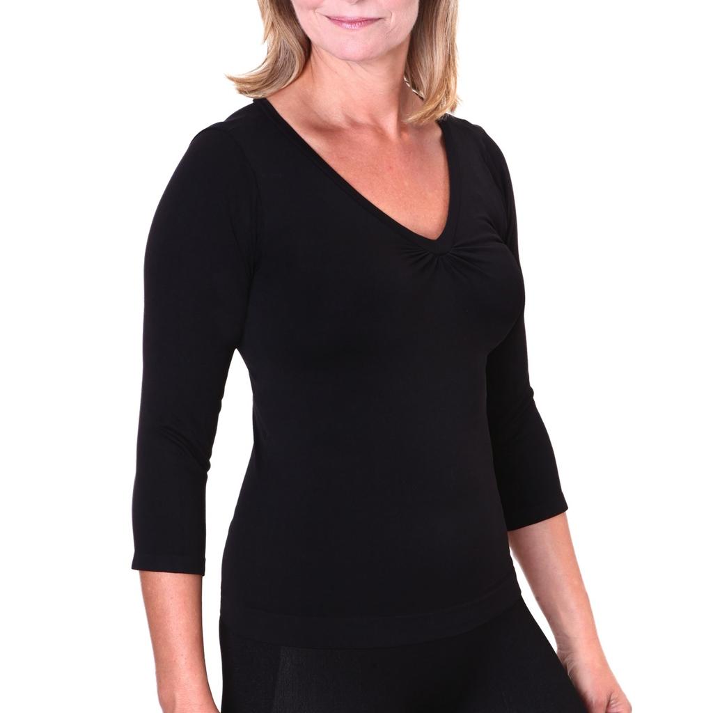 Firma Energywear Firma-Ladies-V-Neck-3/4-SleeveFirma-Ladies-V-Neck-3/4-Sleeve, BLACK, S