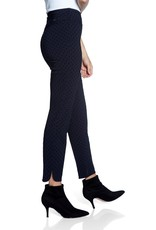 Up Pants Navy Flocked Dot -Petal Split Pants