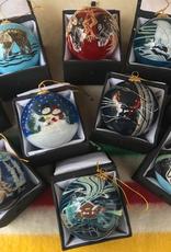 Robbie Craig Glass Christmas Ornaments, BEAR, O/S