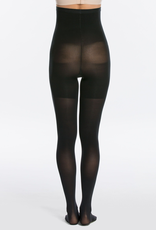 Spanx Designed with a built-in shaper that flattens the stomach, firms the butt, smooths the thighs and streamlines the silhouette<br /> 3D yarn construction for a smart, soft-touch stretch and amazing recovery<br /> 60 denier—semi-opaque<br /> Cotton gusset makes panties option