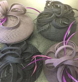 KK 13398 Fascinator Hat with ribbon/veil, NAVY, O/S