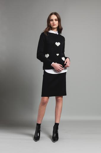 Pistache Pistache C20 Heart Sweater, BLACK WITH WHITE HEARTS, L/XL