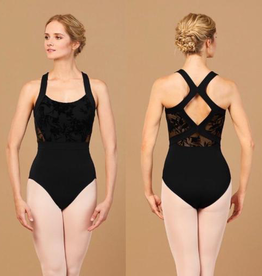 Bloch Bloch L7885 Floral Mesh Wide Strap Leotard / Bodysuit<br /> , BLACK, SMALL