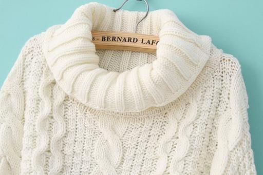 Pistache Pistache M3261 Chunky Cable Knit Sweater, CREAM, L/XL