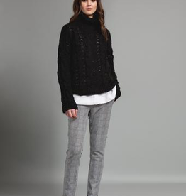 Pistache Pistache M3261 Chunky Cable Knit Sweater, BLACK, L/XL
