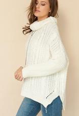 Pistache Pistache M3261 Chunky Cable Knit Sweater, BLACK, L/XL