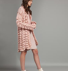 Pistache Pistache 28107 Twisted Knit Cardigan, BLUSH PINK, L/XL