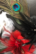 CA Hair Flower with Peacock Feather