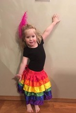 Daisy Corsets Daisy Rainbow Satin Layered Ruffle Skirt