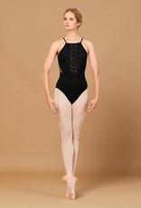 Bloch L5557 Embroidered V Neck, Open Back Leotard /Bodysuit