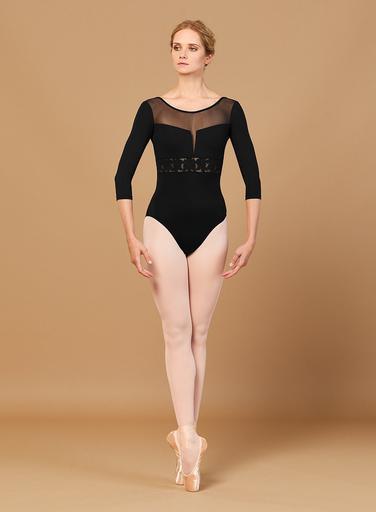 Bloch Bloch L5516 Embroidered 3/4 Sleeve Low Back Leotard /Bodysuit, BLACK, LARGE