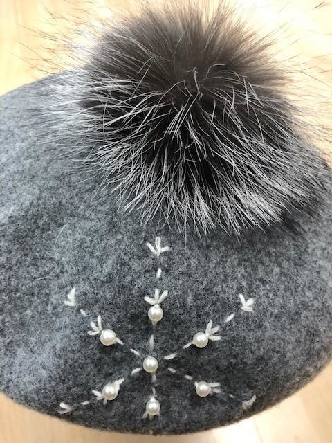 Canadian Hat Company Ltd. Canadian Hat Company Bria- Beret with Snowflake Embroidery  - ON Sale! !