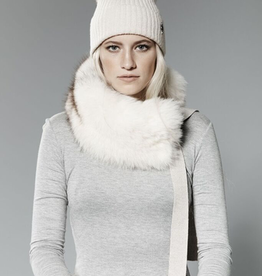 Canadian Hat Company Ltd. Harricana Recycled Fur Headband with Wool Backing and Ties, BEIGE WOOL WITH NORGWEGIAN FOX FUR, O/S - on sale ! !