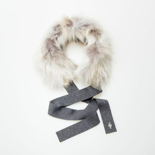 Canadian Hat Company Ltd. Harricana Recycled Fur Headband with Wool Backing and Ties, BEIGE WOOL WITH NORGWEGIAN FOX FUR, O/S - on sale ! !