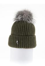 Canadian Hat Company Ltd. Harricana Beanie With Upcycle Fur Pom Pom, KHAKI, O/S