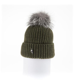 Canadian Hat Company Ltd. Harricana Beanie With Upcycle Fur Pom Pom, BLUE, O/S