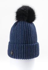 Canadian Hat Company Ltd. Harricana Beanie With Upcycle Fur Pom Pom, BLUE, O/S