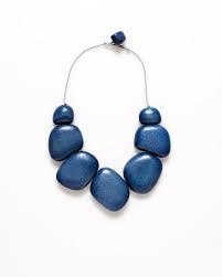 ELK Blue/Grey Cord Dome Short Necklace
