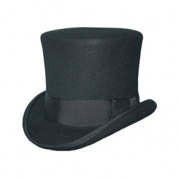 Black Top Hat- Satin