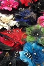 Feather flower hair clips