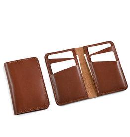 Fab Fab - Portefeuille vertical en cuir brun