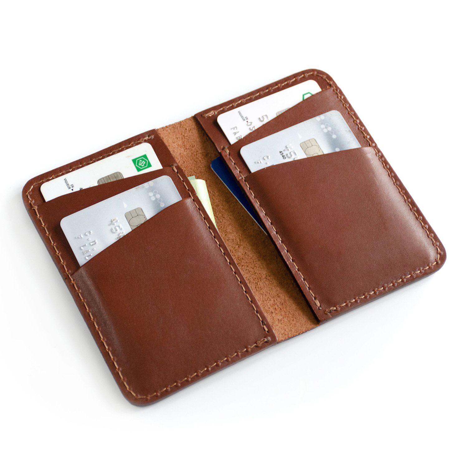 Fab Fab - Vertical leather wallet - Brown