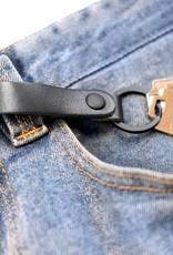 Fab Fab - Porte-clés en cuir noir