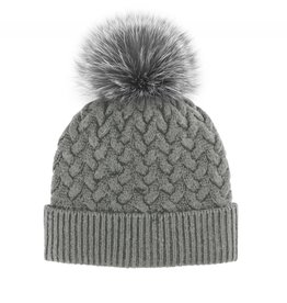 Mitchie's Mitchies Wool Knit Hat (Fox Pom) - Grey