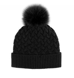 Mitchie's Mitchies Wool  Knit Hat (Fox Pom) HTIM05 - Black