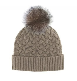 Mitchie's Mitchies Wool Knit Hat (Fox Pom) - Beige