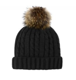 Mitchie's Mitchies Knit Hat (Raccoon Pom) HTEPH1 - Black