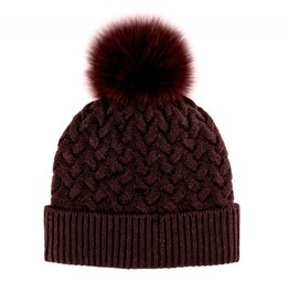 Mitchie's Mitchies Wool Knit Hat (Fox Pom) HTIM05 - Burgundy