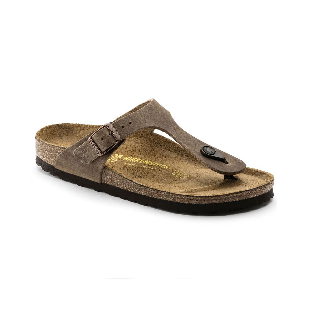 Birkenstock Birkenstock Gizeh Oiled Leather (Women - Regular) - Tobacco Brown