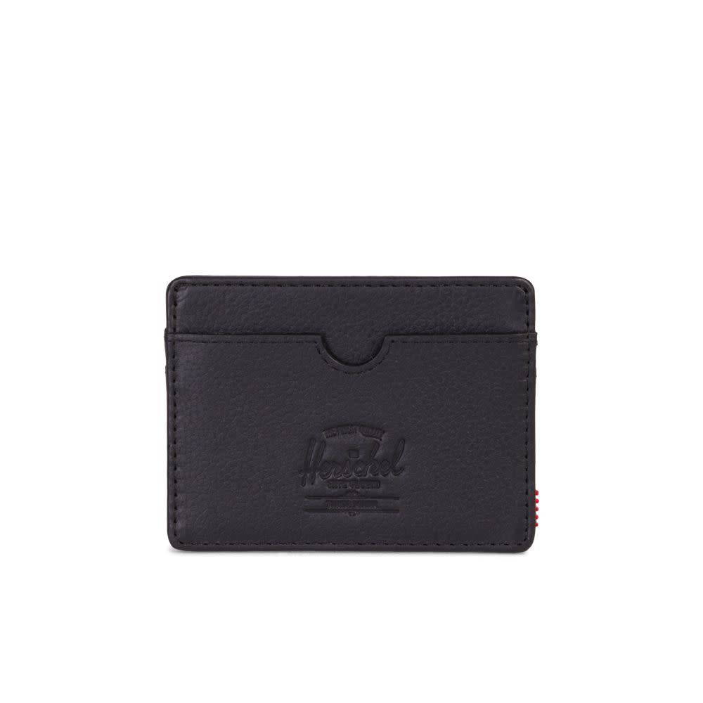 38bcb75966d3 Herschel Charlie Wallet - Black Pebbled Leather RFID - Bottes et Baskets