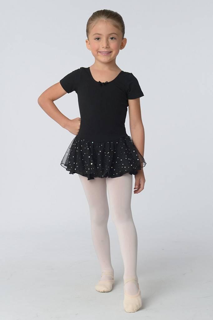 Danshuz Short Sleeve Leotard w/ Sparkly Skirt