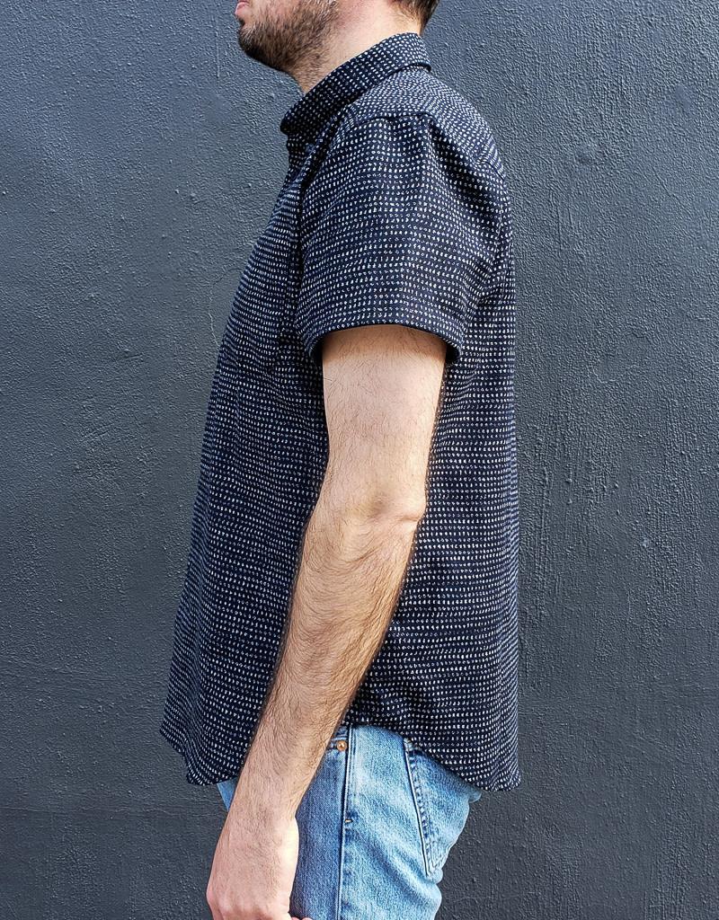 Naked and Famous Denim Short Sleeve Easy Shirt in Kimono Chon Indigo