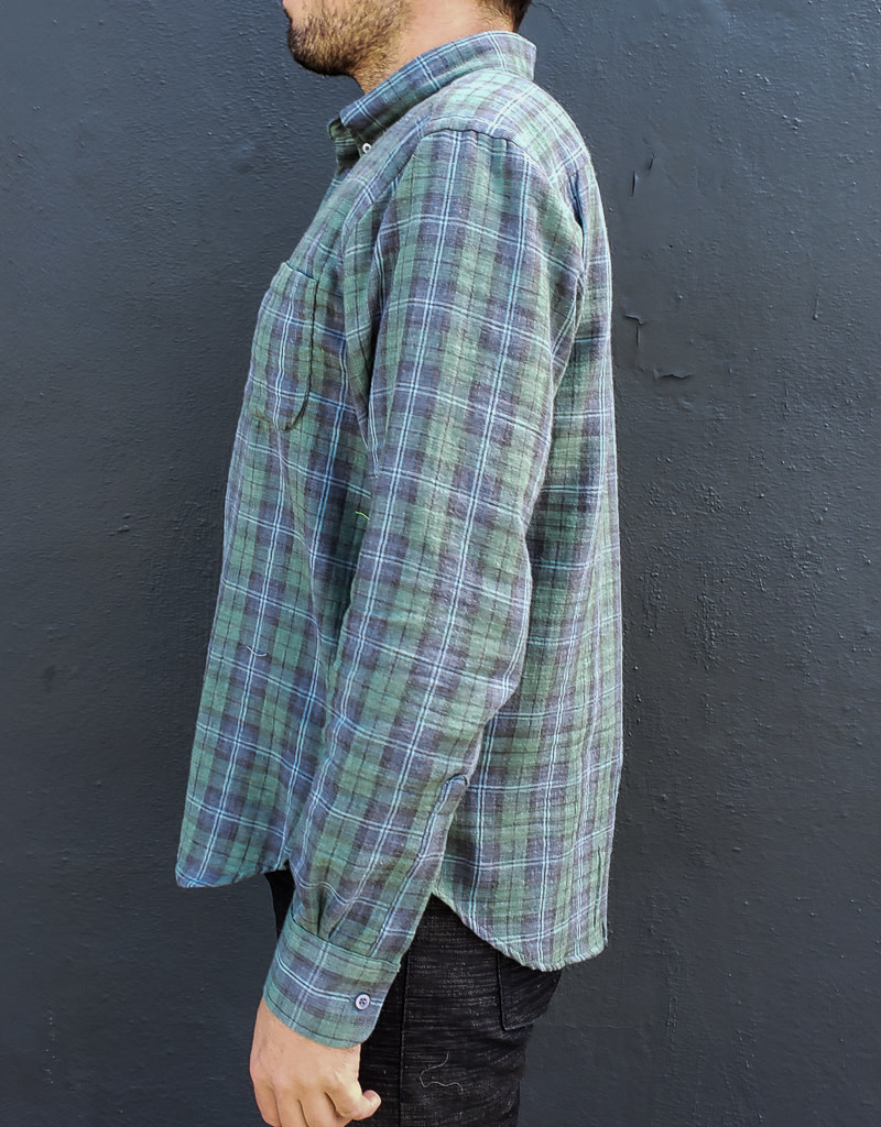 Naked and Famous Denim Long Sleeve Easy Shirt in Plaid Double Cloth