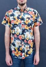 Naked and Famous Denim Short Sleeve Easy Shirt in Flower Painting Orange