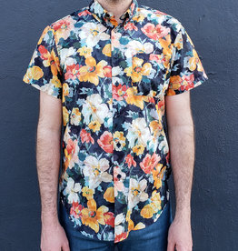 Naked and Famous Denim Short Sleeve Easy Shirt in Flower Painting Orange
