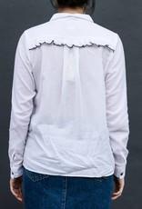 Acote White Ruffle Buttonup Shirt