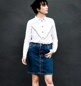 Acote White Ruffle Buttonup Shirt