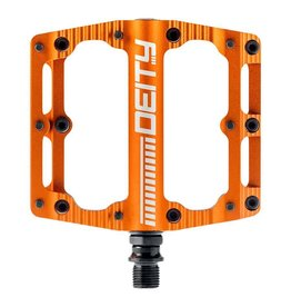 Deity, Black Kat, Platform Pedals, Body: Aluminum, Spindle: Cr-Mo, 9/16'', Orange, Pair