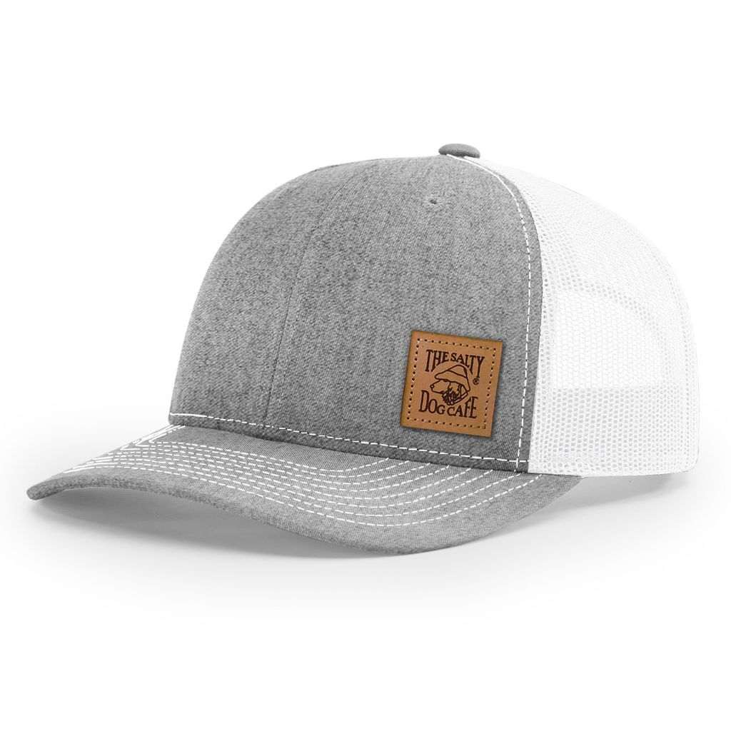 Hat Leather Patch Trucker Hat in Heather Grey